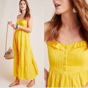 Anthropologie Maeve Arcadia Yellow Maxi Dress New